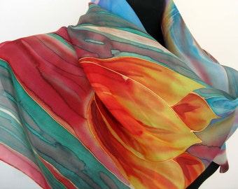 Silk scarf. Hand painted silk scarf. Tulips scarf. Red tulips. Blue background. Painted art scarf.