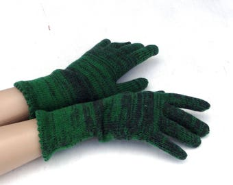 knitted fingered gloves, knit gray green gloves with fingers, colorful gloves, knitting wool gloves, winter gloves, hand warmers, mittens