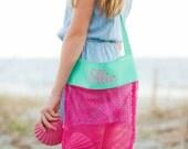 Custom Monogram Shell Totes -Summer Monogram - Vacation - Kid's Seashell Tote Bag - Beach Bag - Pool bag - Monogrammed beach bag