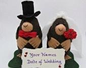 Wedding Mole Cake Topper - Felt Bride and Groom Moles - FULLY CUSTOMISABLE