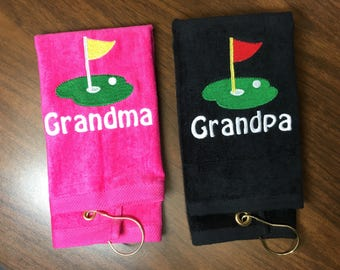 READY TO SHIP golf towels, one Set of 2 golf towels in the demo. No changes can be made, 12 x 16