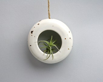 Extra small  white round hanging O-planter. Terrarium, rustic home decor, air plant, hanging contemporary planter.
