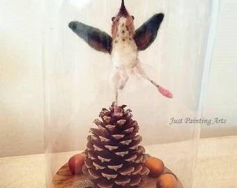 Needle Felted Wool Dancing hummingbird,Allen's Hummingbird Sculpture,Happy