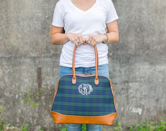 Monogram Plaid Bowler Purse