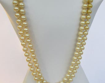 Vintage Double Strand Faux Pearl Necklace JAPAN with Rhinestone Findings