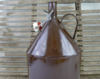 Vintage Enamel Jug Canteen Flask, Brown Enamelware with Porcelain Cap, Rustic Farmhouse Kitchen