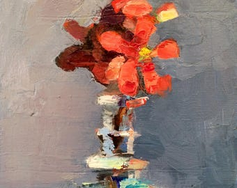 "Together ""Flowering Quince 6"" Floral 7"" x 5"" Still Life Original Oil Painting Impressionist  Expressionist"