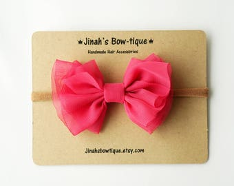 Chiffon Bow in Hot Pink- Headband Nylon Skinny Headband or Hair Clip