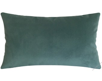 Caribbean Green Velvet Suede Decorative Throw Pillow Cover / Pillow Case / Cushion Cover / 12x20""