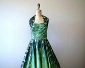 RESERVED . . . ON LAYAWAY . 1950s Hawaiian dress . vintage 50s green halter dress