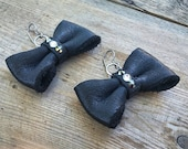 RESERVED Custom Listing for Beth | Black Leather Bow Tie Earrings | Bow Tie Earrings | Bow Tie Jewelry | Gifts for Her