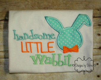 Handsome little Wabbit/ Easter/Rabbit / Easter Shirt/ boy/Easter Rabbit/ Boy Bunny Ears hunting Newborn/ bring home outfit /prince