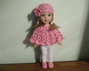 "poncho hat slippers/shoes pink set Hand-crocheted to fit 14.5"" Wellie Wishers Dolls"