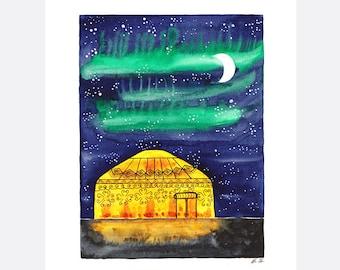 Original watercolor painting Yurt tent Camping Glamping Moon Starry night Stars art illustration