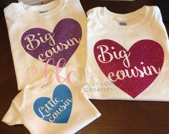 Little cousin - big cousin - Pregnancy announcement shirt - cousin - new baby - big cousin