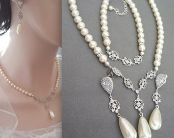 Pearl jewelry set - Swarovski pearl jewelry set ~ 3 piece pearl set ~ Pearl Bracelet, Earrings, Necklace - Bridal jewelry set, BETH