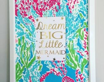 Mermaid Nursery Decor, Girl Nursery Decor, Let's Cha Cha Nursery Art, Gold Foil, Girl Bedroom Decor, Mermaid Bedroom, Girl Playroom