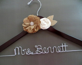 BURLAP Wedding Hanger, Rustic Wedding Hanger, Personalized Wire Hanger, Woodland Wedding, Bride Hanger, Engagement Gift, Bridal Shower Gift