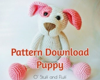 PATTERN- Puppy PDF Pattern, amigurumi Dog, crochet Dog, INTERMEDIATE crochet animal