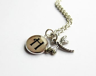 Personalised Dragonfly Charm Necklace, Dragonfly Jewellery, Monogram Necklace, Initial Necklace, Customised Gift for Her