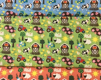 Fabric Freedom FF97 Farmyard Life in blue, green and terracotta by the half metre