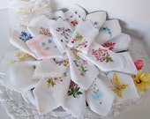 Wedding Favors Vintage Handkerchiefs for Shower Invites, Thank You Gifts, Bridal Luncheon, Embroidered Florals on White, Set of 20