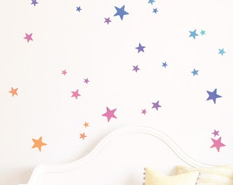 Rainbow Gradient Stars | Removable Wall Sticker & Decal | LSB0276WHT