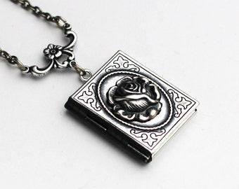 Personalized Locket Necklace, Rose Locket, Silver Locket, Locket Necklace, Book Locket