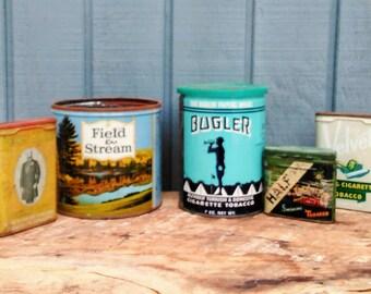 Vintage Tobacco Tins - Set of 5 Collectible Tins