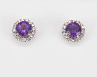 Amethyst and Diamond Stud Earrings Halo Studs Earring Yellow Gold February Gem Birthstone