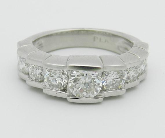 Platinum 1.75 ct Diamond Wedding Ring Anniversary Band Round G VS2 Size 6