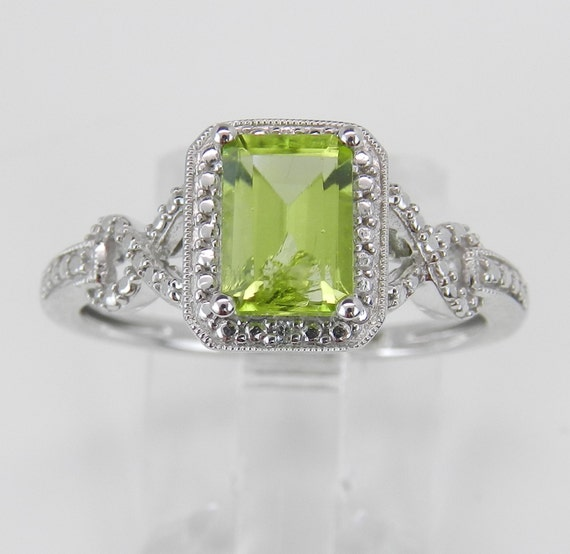 HUGE SALE White Gold Diamond and Peridot Halo Engagement Ring Green Size 7