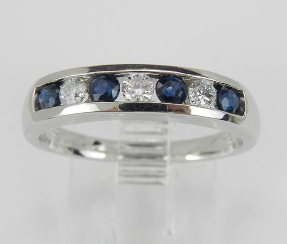 Sapphire and Diamond Wedding Ring Anniversary Band White Gold Size 7 Stackable