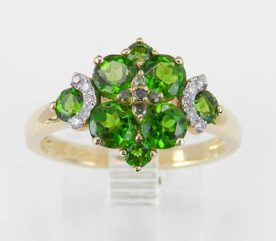 14K Yellow Gold Diamond and Chrome Diopside Cluster Cocktail Ring Size 6.75