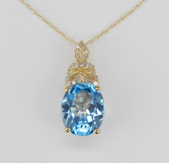 """Diamond and Blue Topaz Pendant Yellow Gold Necklace 18"""" Chain Wedding Gift"""