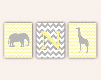 Chevron Elephant Monogram and Giraffe Print Set - Light Yellow and Gray Wall Art - Zoo or Jungle Nursery Art (5005)