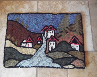Hooked Rug Punch Rug handmade quality wool wall hanging landscape houses river