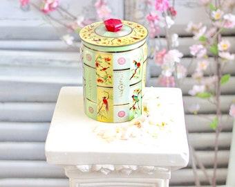 Vintage English Tea Tin Canister Floral Tin Storage Box Tea Storage Cookie Biscuit Storage