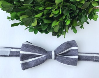 Denim and White Stripe Bow Tie