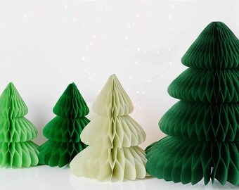 Set of 4 Shimmery honeycombs Christmas trees - paper honeycomb -golden - Xmas decor - holiday decor - party decorations