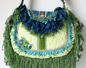 Bohemian Handbag / Gypsy / Shoulder Bag / Crossbody Bag / Womens gift / Vintage Purse / Handmade / Magnolia Pearl