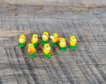 Vintage Tiny Yellow Plastic Crafting Birds Set of 7