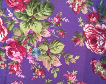 Shabby purple and pink rose fabric