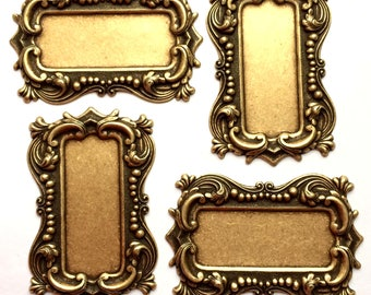 Brass Frame, 4 Piece Lots, Picture Frame, Jewelry Supplies, Jewelry Making, Brass Ox,  US Made, Victorian Frames, B'sue Boutiques, Item2196