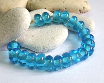 Turquoise Ice, Lampwork Spacer Beads, SRA, UK