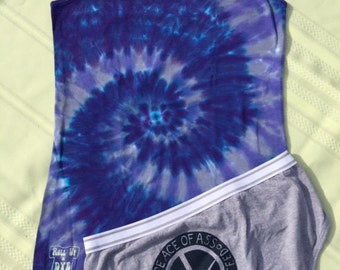 Peace of Ass Jammies Tie dye tank top, Adult Medium, undies medium/6