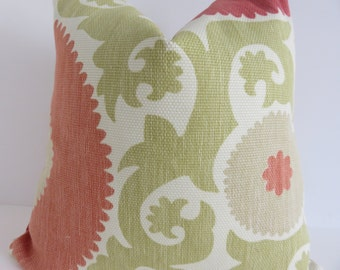 Suzani Pillow Cover- Green Coral Pillow- Suzani Decorative pillow- Green Pillow - Suzani Coral Pillow - 18x18 pillow cover - Pillow Cover