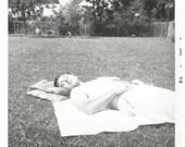 """Vintage Snapshot """"Catching Some Rays"""" Shirtless Man Asleep Blanket Tanning Found Vernacular Photo"""