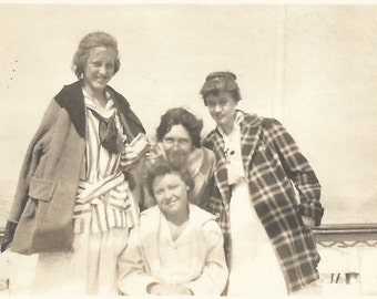 """Vintage Snapshot """"Hiding in Her Friend's Hair"""" Girlfriends Plaid Jacket Middy Blouse Found Photo"""
