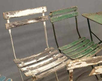 Vintage French Bistro Folding Chair Garden Chair Wood Slats Metal Frame Shabby Chic Café Rare 4 0f 6